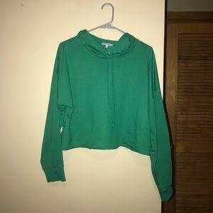 Charlotte Russe green crop top hoodie